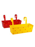 Set of two Polka Dot Rectangle Planter Red & Yellow