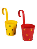 Set of two Railling Pot Polka Red & Yellow