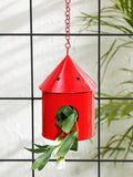 Round Hut Bird House Red