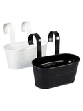 Set of two Oval Railling Planter Small White & Black