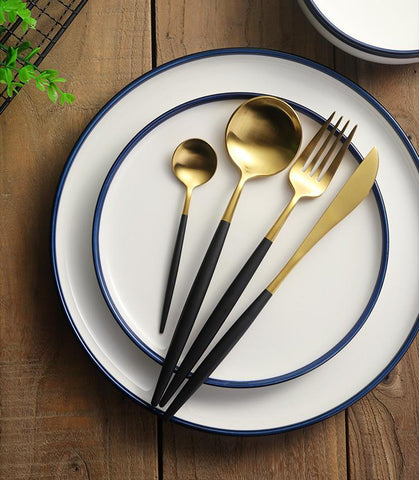 Black & Gold Roly Poly Cutlery Set - betterhomes.shop