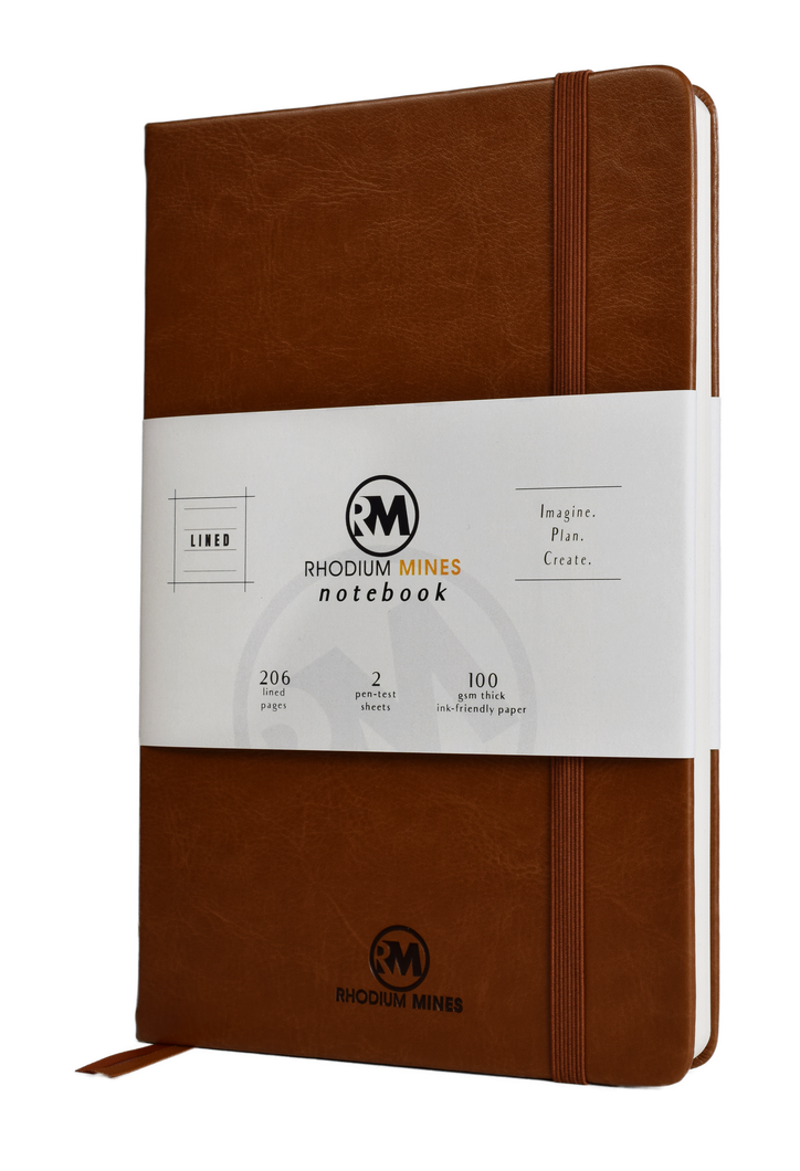 Rhodium Mines® Lined Notebook (Brown)