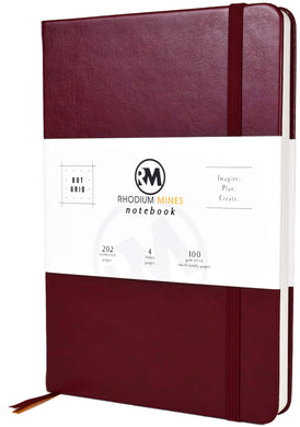 Rhodium Mines® Dot Grid Numbered Notebook (Ruby Red)