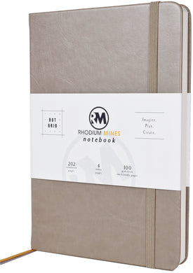 Rhodium Mines® Dot Grid Numbered Notebook (Stone Grey)