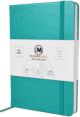 Rhodium Mines® Dot Grid Numbered Notebook (Turquoise)