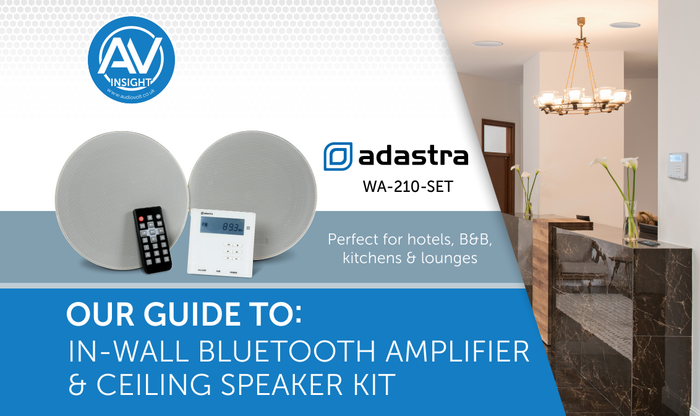 Adastra In-Wall Bluetooth Amplifier & Ceiling Speaker Kit (WA-210-SET) perfect for hotels, B&B's, kitchens & lounges