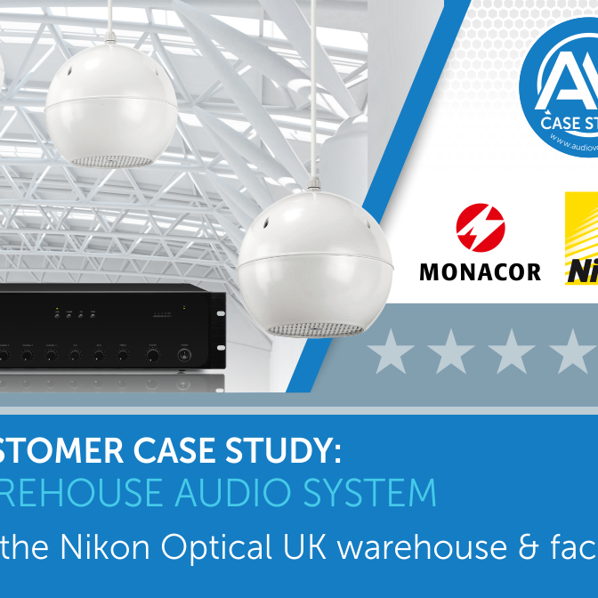Its a Monacor background audio system for the Nikon Optical UK's warehouse & factory