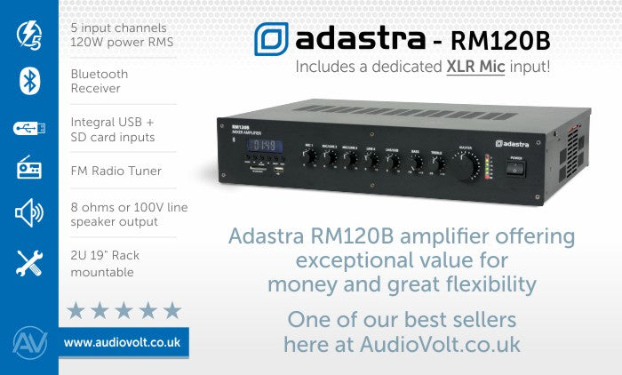 Adastra RM120B mixer amplifier with bluetooth