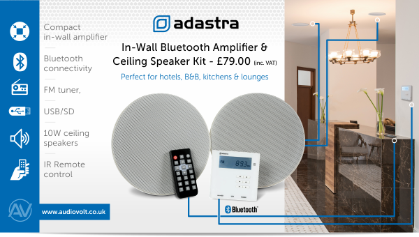 The Adastra in-wall bluetooth amplifier & ceiling speaker kit