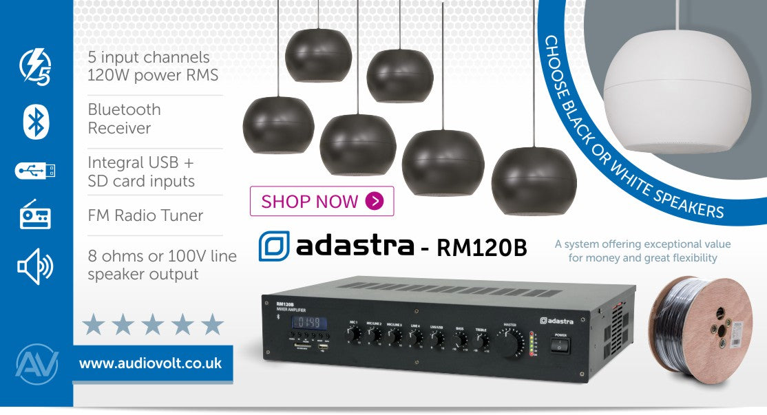 Adastra Warehouse Music Sound System with Suspended Pendant Speakers, Bluetooth & FM Radio