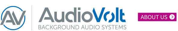 Audio Volt logo and about us button