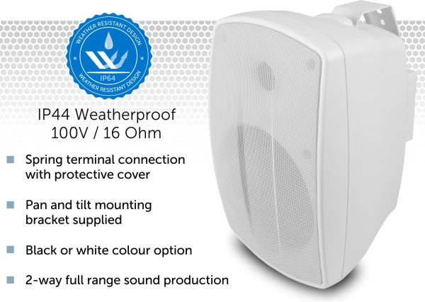 Bluetooth Garden & Patio Area Music Kit - Weatherproof Wall Speakers & Cable