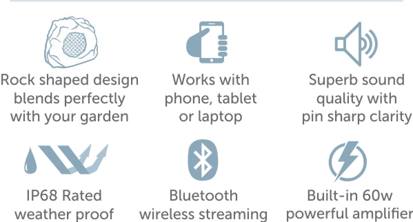 Key Features of the Lithe Audio Rock speaker for the garden