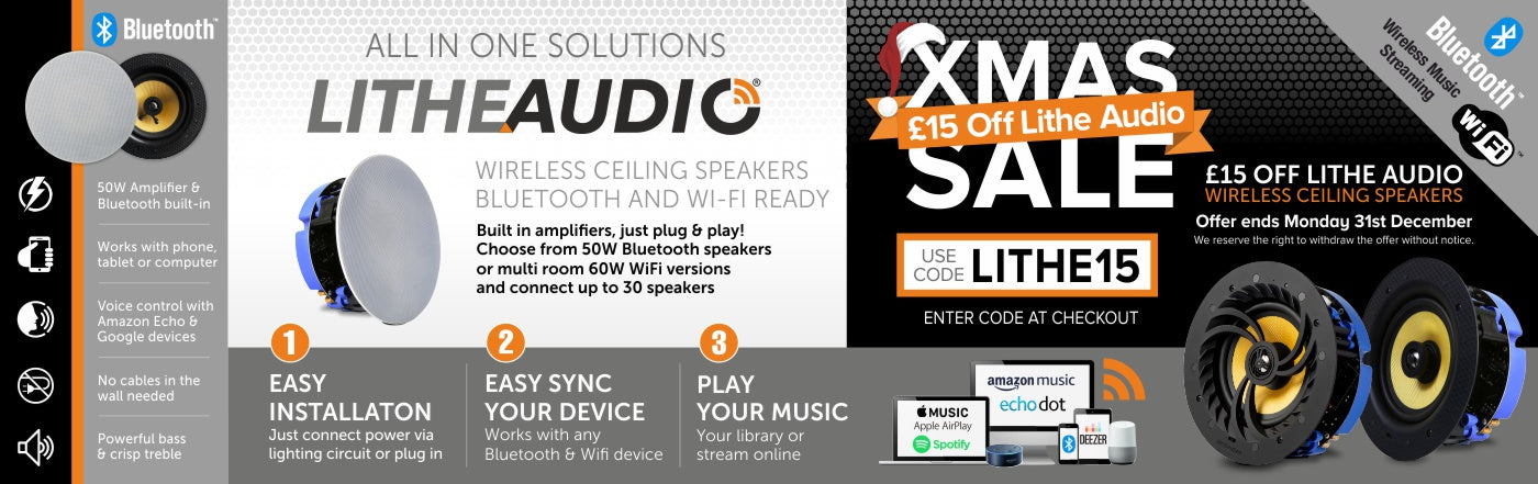 Lithe Audio wireless ceiling speakers with £15 Christmas discount