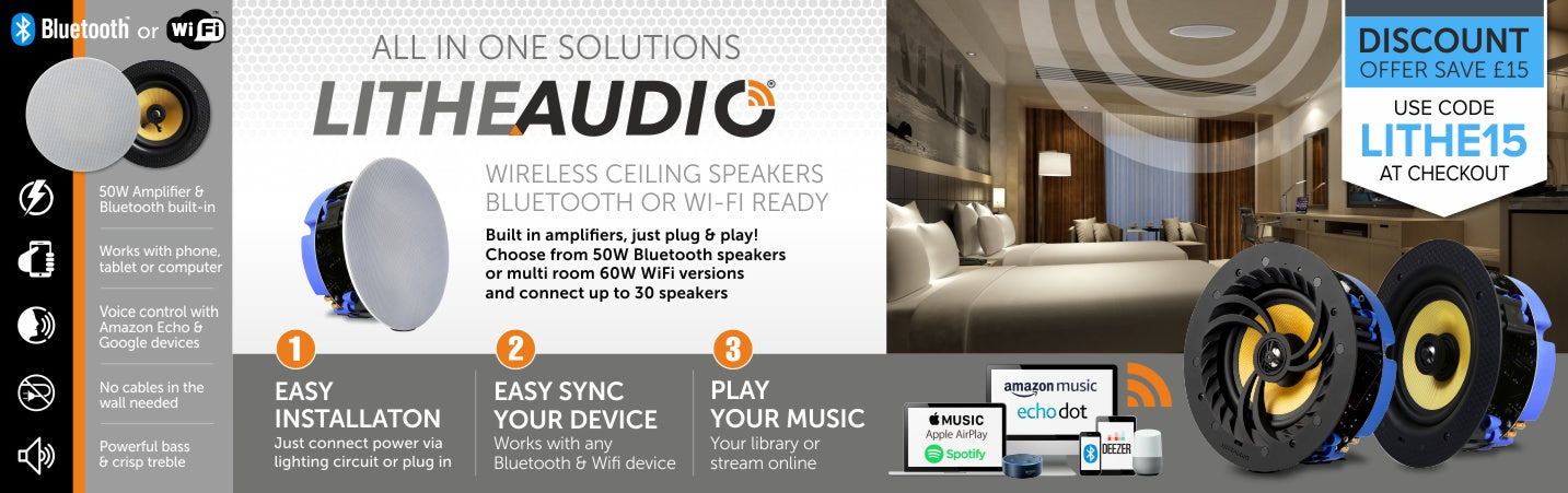 Lithe Audio wireless ceiling speakers available from Audio Volt