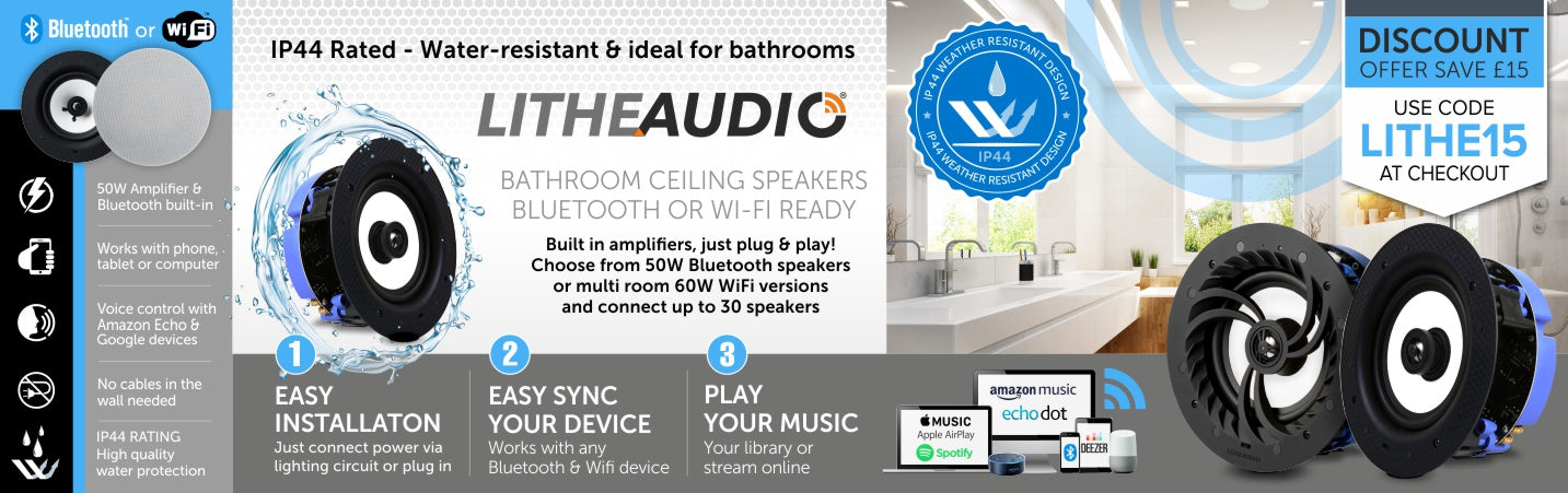 Lithe Audio IP44 Wireless Ceiling Speakers from Audio Volt