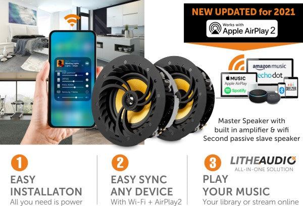 Lithe Audio Multi-Room Wi-Fi Ceiling Speakers (Pair) - Master & Slave (Updated with AirPlay 2)