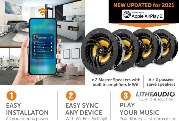 Lithe Audio Multi-Room WiFi Ceiling Speakers x 4 (2 Masters & 2 Passives) Updated with AirPlay 2