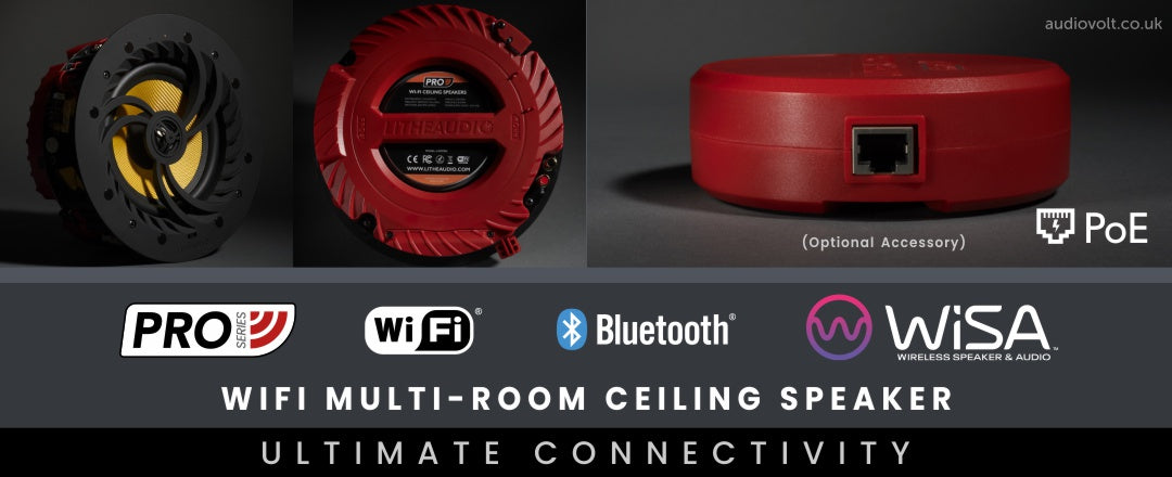 Lithe Audio, Pro Series, Ultimate Connectivity - WiFi & Bluetooth Ceiling Speaker