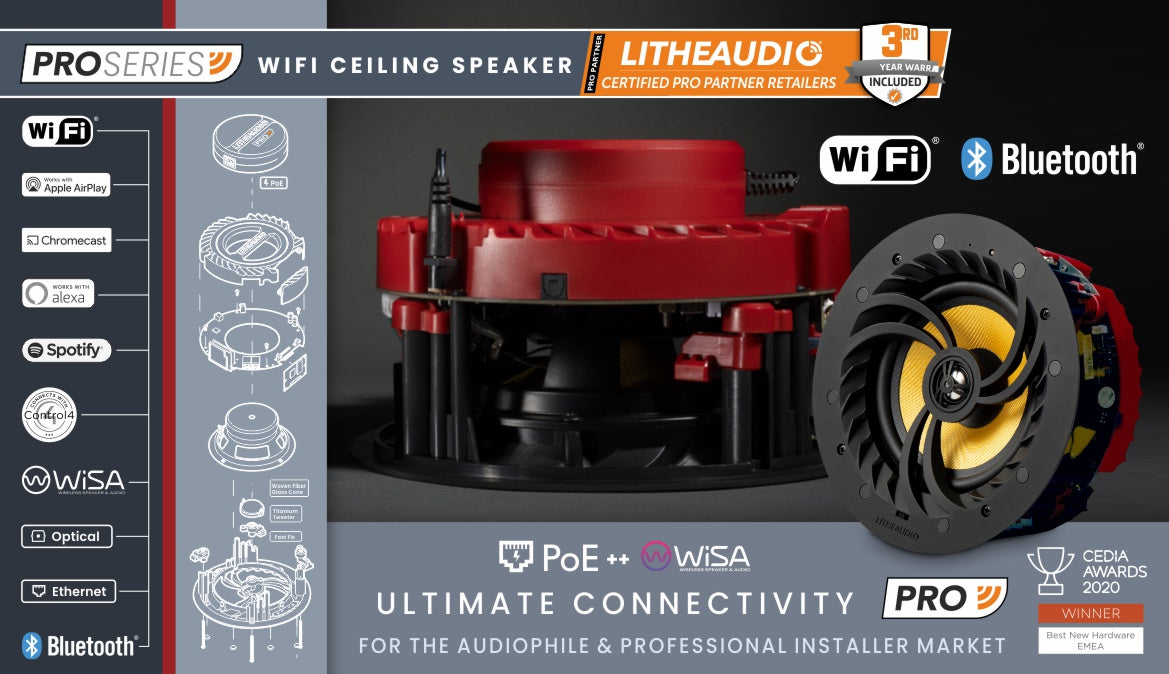 Pro Series WiFi Ceiling Speaker by Lithe Audio