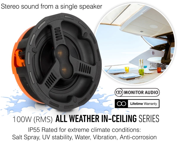 Monitor Audio AWC280-T2 8 inch High-Performance IP55 Rated Waterproof Stereo Ceiling Speaker