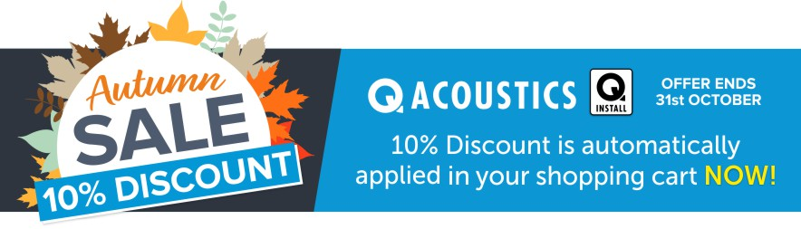Save 10% off any Q Acoustics & Q Install products this Autumn at Audio Volt