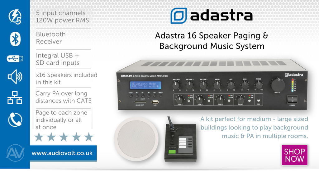 Adastra 16 Speaker Paging and Announcement system with Background Music