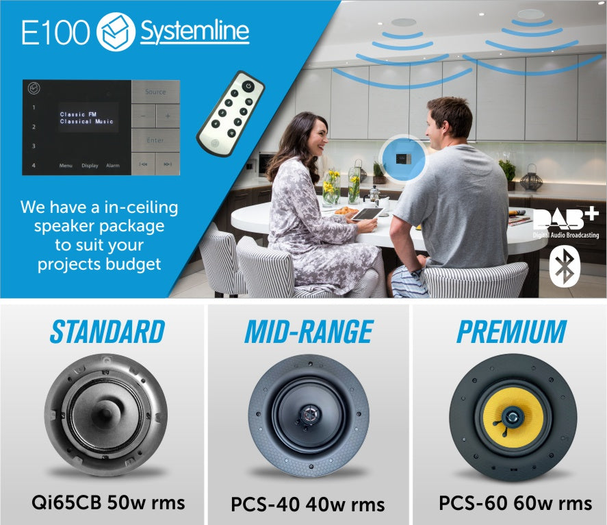 Systemline E100 - Home Audio In-Wall Ceiling Speaker System | Bluetooth & DAB Radio