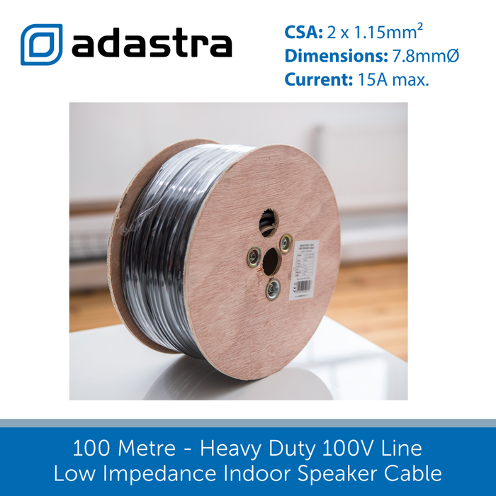 100 Metre Heavy Duty 100V Line / Low Impedance Indoor Speaker Cable