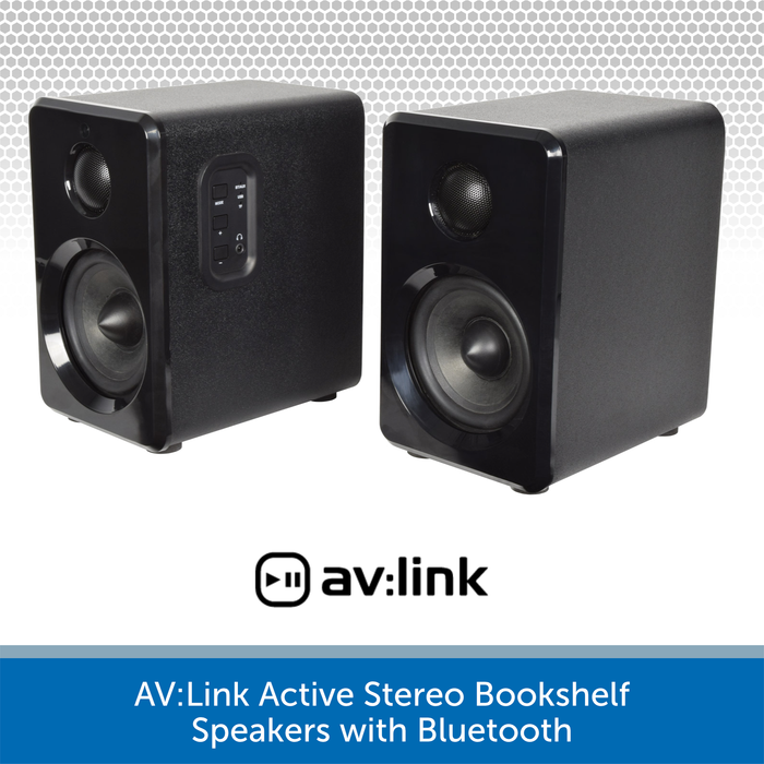 AV:Link Active Stereo Bookshelf Speakers with Bluetooth black
