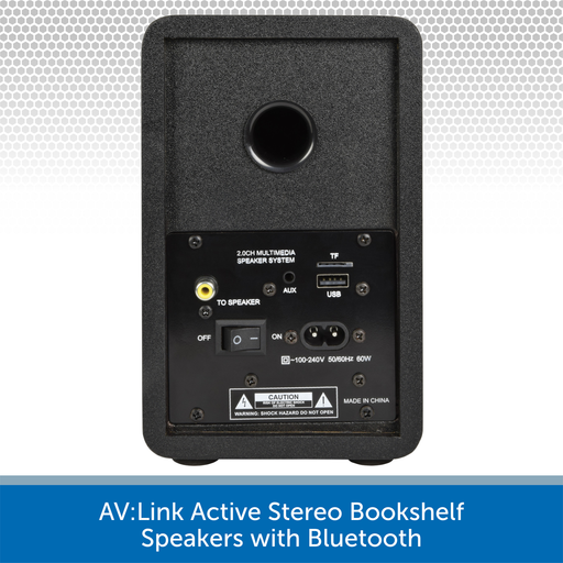 AV:Link Active Stereo Bookshelf Speakers with Bluetooth rear
