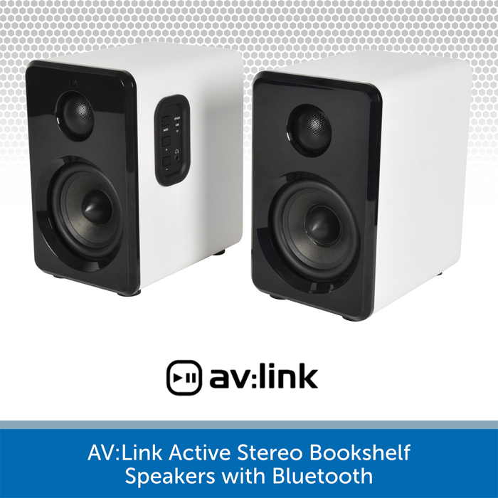 AV:Link Active Stereo Bookshelf Speakers with Bluetooth white