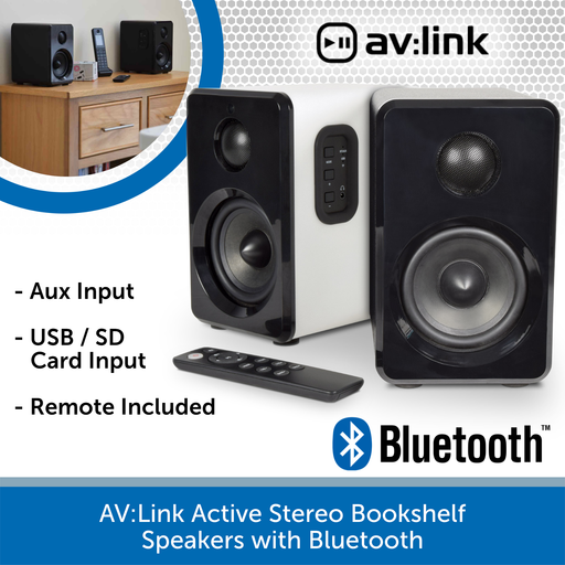 AV:Link Active Stereo Bookshelf Speakers with Bluetooth