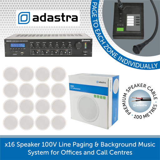 Adastra Paging Announcement & Background Music System - 16x White Ceiling Speakers