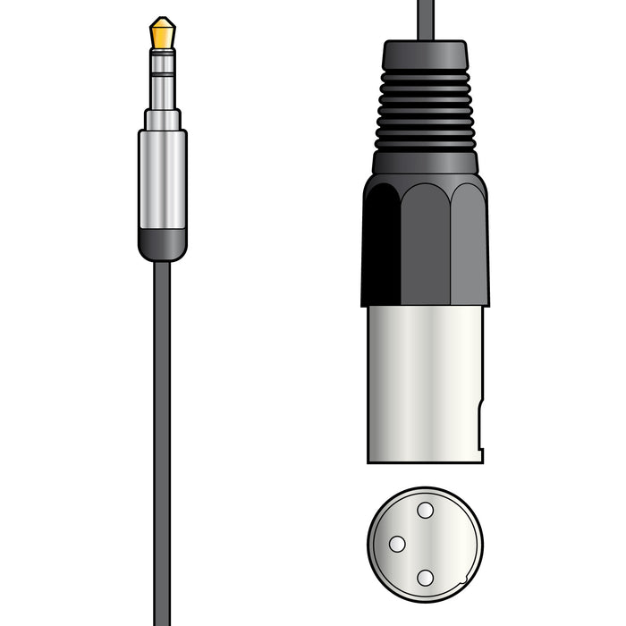 3.5mm Stereo Jack to XLR Male Audio Cable, Stereo into Mono