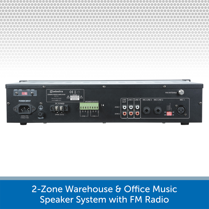 2-Zone Warehouse & Office Music Speaker System with FM Radio