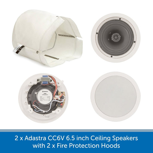 2 x Adastra CC6V 6.5 inch Ceiling Speakers with Fire Protection Hoods