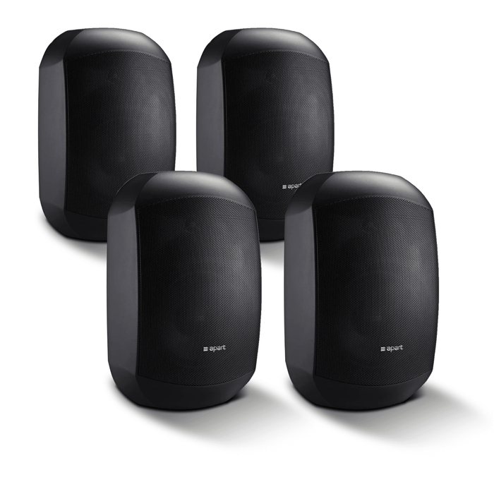 4 Pack of Apart MASK4CT-BL Two-Way Loudspeakers in Black