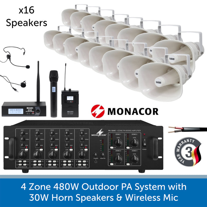 16 Speaker 4-Zone Outdoor PA System with Wireless Microphone