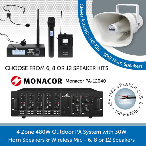 Multi-Zone Outdoor PA Speaker System with 30W Horn Speakers & Wireless Mic