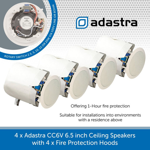 4 x Adastra CC6V 6.5 inch Ceiling Speakers with Fire Protection Hoods