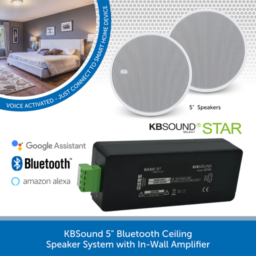 "KBSound 5"" Bluetooth Ceiling Speaker System with In-Wall Amplifier"