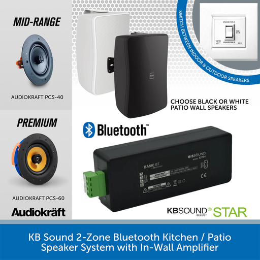 KB Sound 2-Zone Bluetooth Kitchen / Patio Speaker System with In-Wall Amplifier
