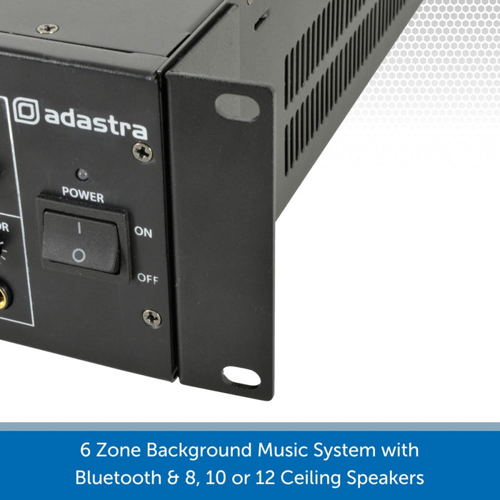 6 Zone Background Music System with Ceiling Speakers, Bluetooth & FM Radio