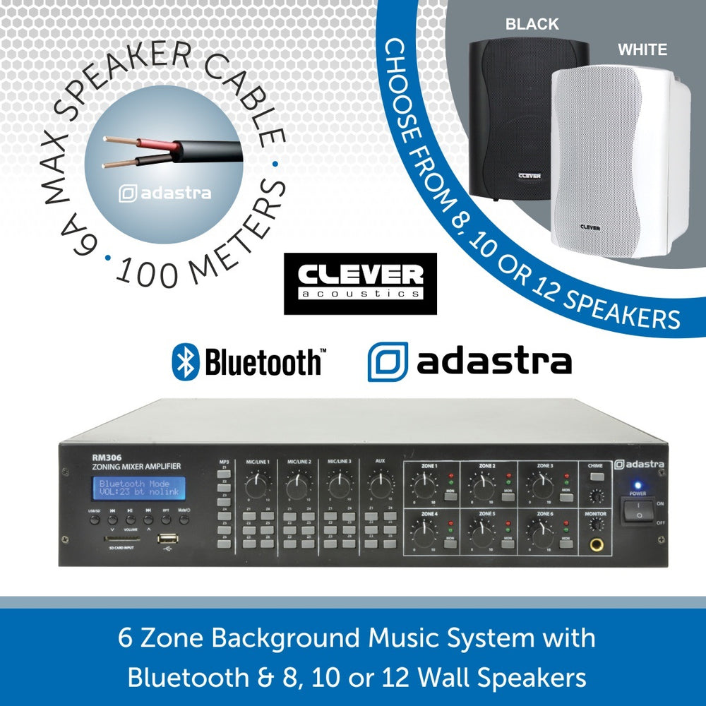 6 Zone Background Music System with Bluetooth & MP3 Player - 8, 10 or 12 Wall Speakers