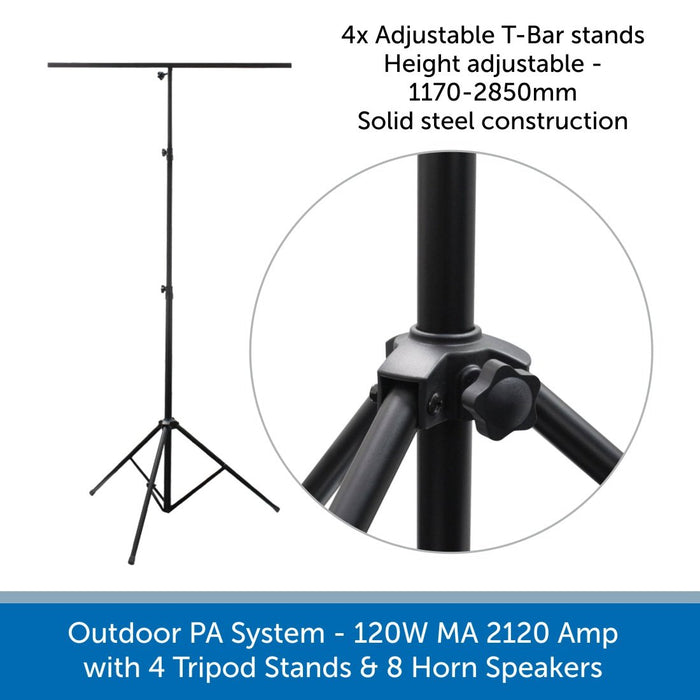 8 Speaker Outdoor PA System with Tripod Stands & Horn Speakers