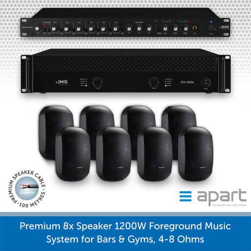 8 Speaker 1200W Foreground Music System for Bars & Gyms BLACK