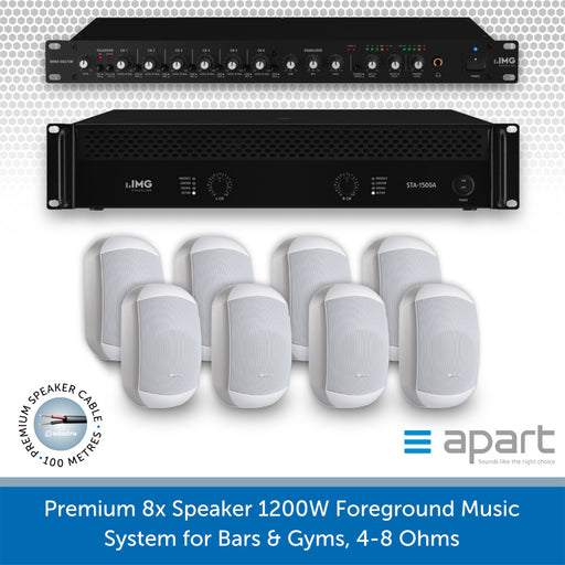 8 Speaker 1200W Foreground Music System for Bars & Gyms WHITE