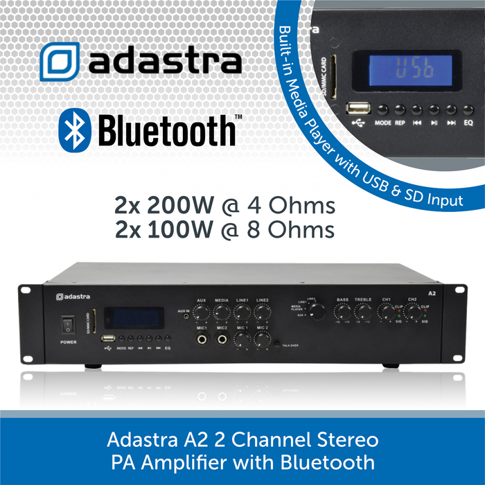 Adastra A2 2 Channel Stereo PA Amplifier, 2 x 200W, 4Ohm with Bluetooth connectivity