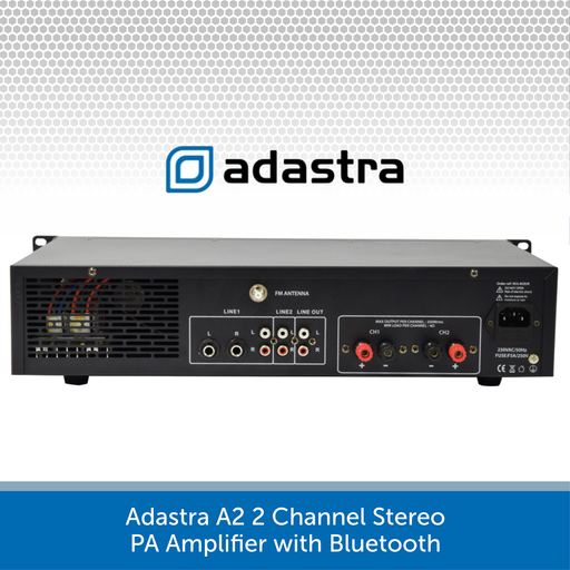 Adastra A2 2 Channel Stereo PA Amplifier, 2 x 200W, 4Ohm with Bluetooth connectivity rear